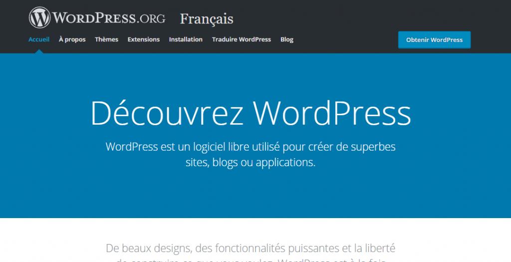 page pour télécharger wordpress