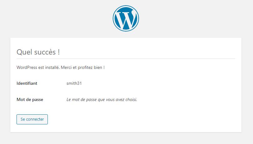 ecran informant du succès de l'installation de WordPress