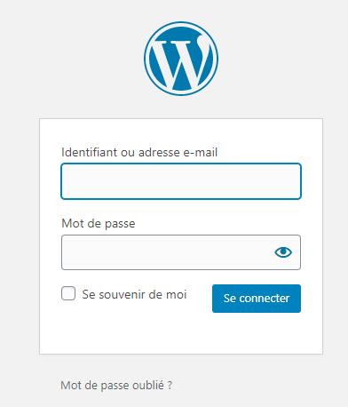 panneau de connexion à l'administration de wordpress