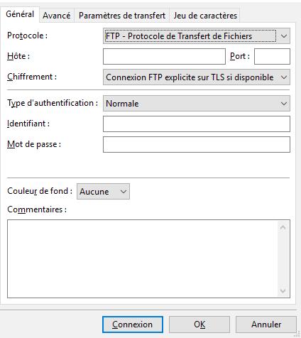 Connexion au site avec FileZilla