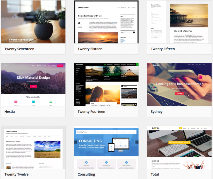 illustration des thèmes natifs de WordPress